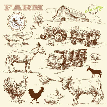 barn: farm collection-handmade drawing