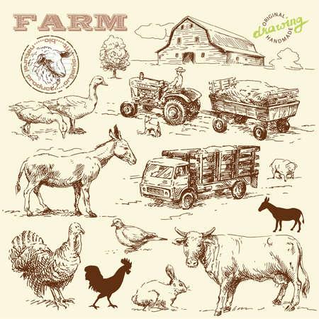 granero: granja de colecci�n hechos a mano dibujo