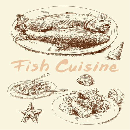 fish cuisine-original hand drawn set  Vector