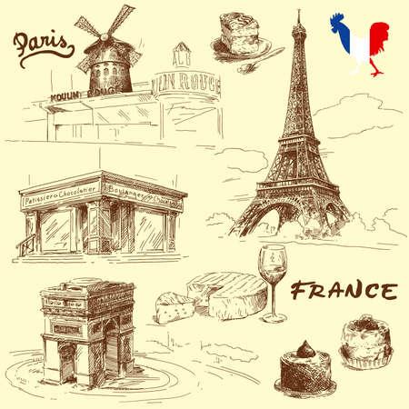 francia: Par�s - colecci�n de dibujado a mano Vectores