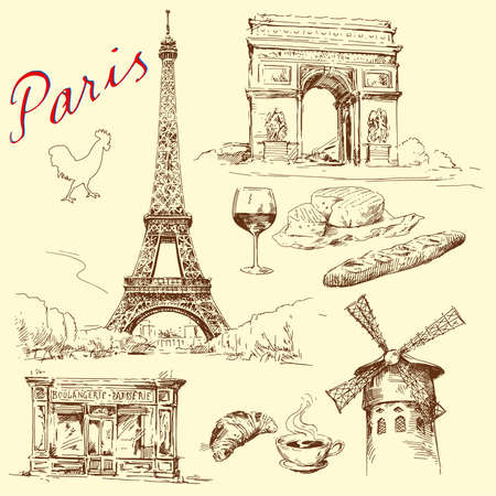 moulin: Paris - hand drawn collection  Illustration
