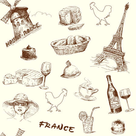 pastries: france-paris-hand drawn seamless wallpaper