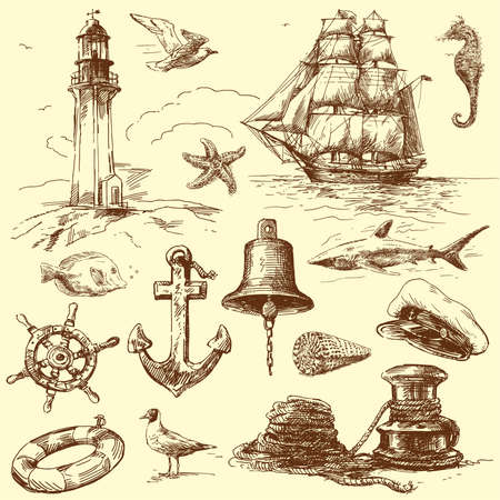 hand drawn nautical collection  Illustration