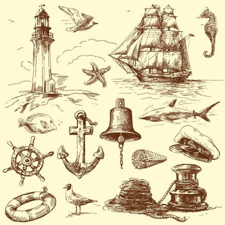 m�ve: Hand gezeichnete Sammlung nautischer