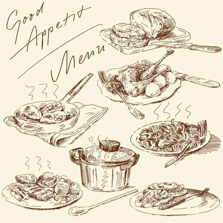 italienisches essen: Men�-urspr�ngliche Hand gezeichneten gesetzt Illustration