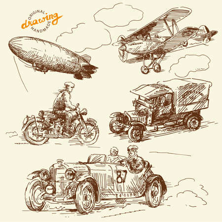 vintage airplane: old times vehicles-handmade drawing