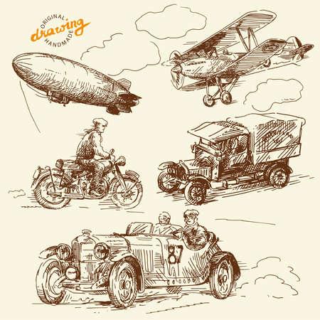 old times: veh�culos viejos tiempos-hecha a mano dibujo Vectores