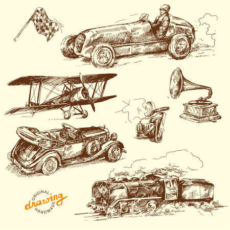 airplane engine: old time - hand drawn collection
