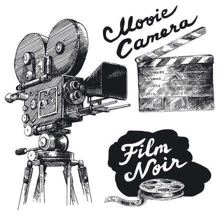 movie clapper: movie camera-original hand drawn collection  Illustration
