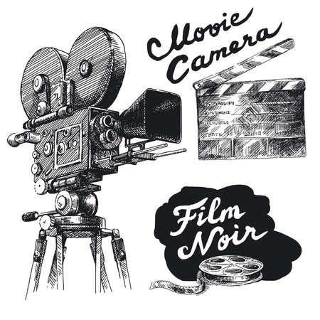 movie sign: pel�cula de la c�mara original, dibujado a mano la colecci�n Vectores