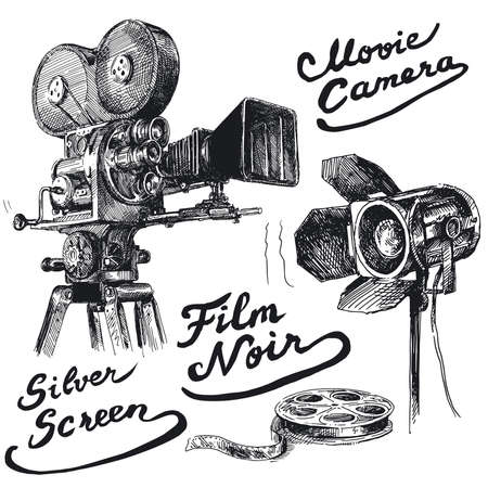 film set: movie camera-original hand drawn collection  Illustration