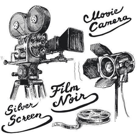 camara de cine: pel�cula de la c�mara original, dibujado a mano la colecci�n Vectores