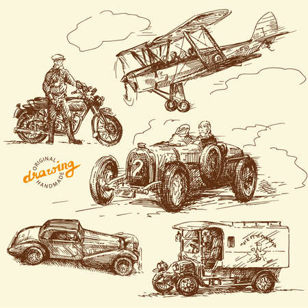 antique car: old times-original hand drawn collection
