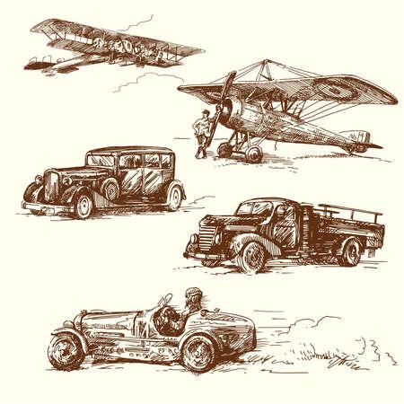 los viejos tiempos vehículo dibujo original hecho a mano