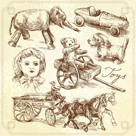 car drawing: antique toys-original hand drawn collection  Illustration