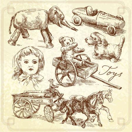 antique toys-original hand drawn collection  Vector