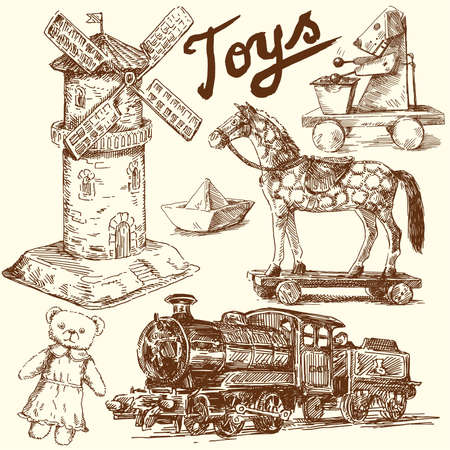 antique toys-original hand drawn collection  Vector