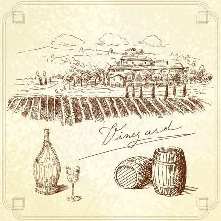 wijngaard-originele hand getrokken inzameling