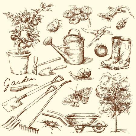 jardinero: herramientas de jardinería Vectores