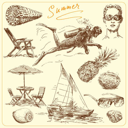 resorts: summer-original hand drawn set  Illustration