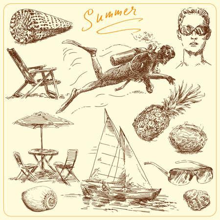 scuba diving: zomer-originele hand getekende te stellen Stock Illustratie