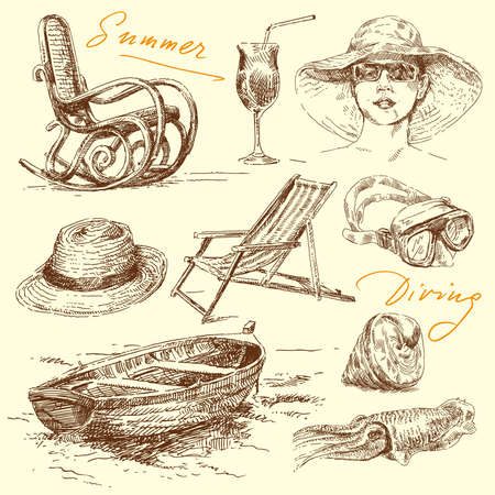 summer holiday - original hand drawn set  Vector