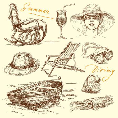 bocetos de personas: vacaciones de verano - mano original conjunto elaborado