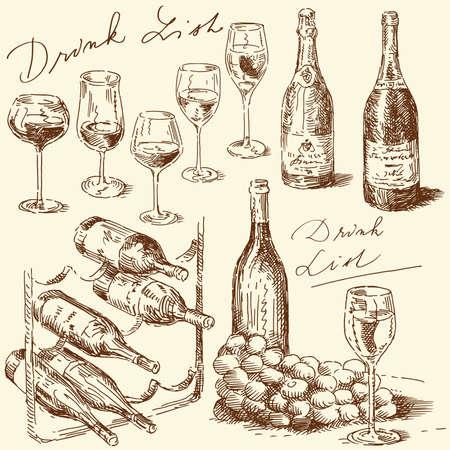 와인: 손으로 그린 와인 컬렉션 일러스트