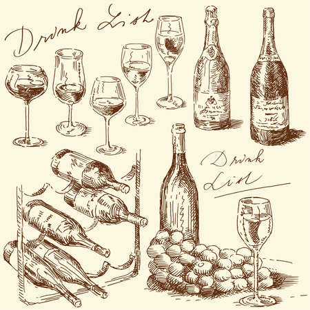 wine glass: hand drawn wine collection  Illustration