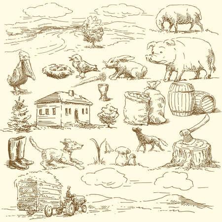 originele hand getekende boerderij collectie Vector Illustratie