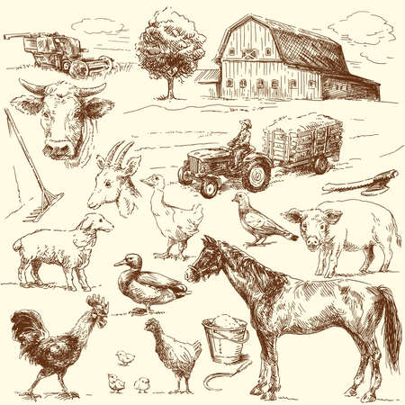 tree sketch: original hand drawn farm collection