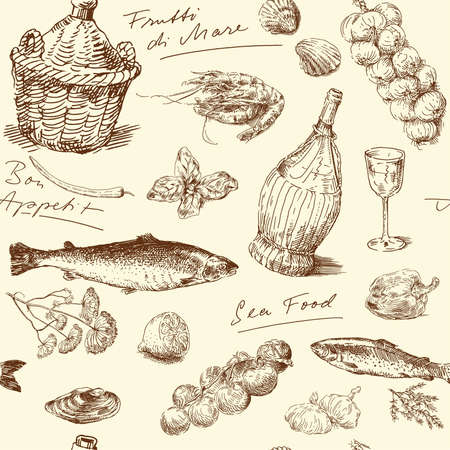 seamless pattern-hand drawn sea food  Vector