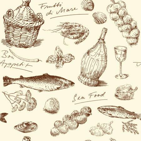 sea food: seamless pattern-hand drawn sea food