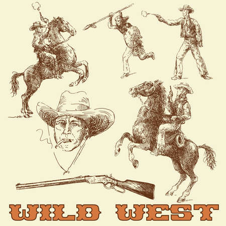 cowboy gun: wild west set  Illustration
