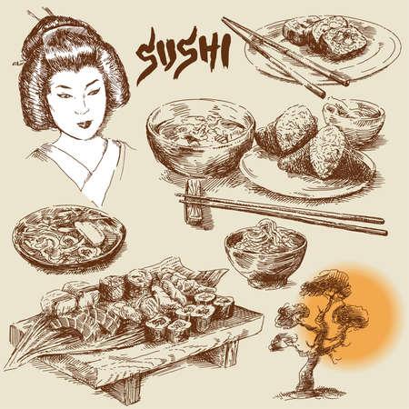 japon food: japonaise de collecte alimentaire main originale dessin�e Illustration