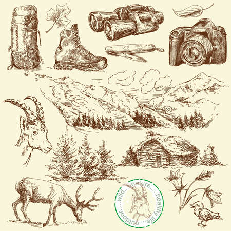 promoting: outdoor collection-original hand drawn set