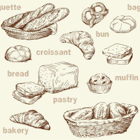 croissants: bakery seamless pattern