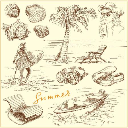 surfeur: ensemble d'été - la main illustration tirée d'origine
