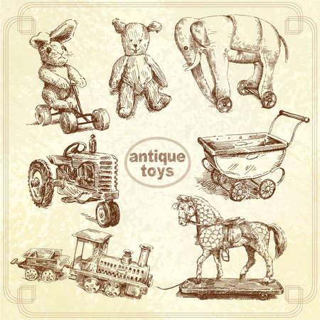 old tractor: antiek speelgoed - hand getekend collectie Stock Illustratie