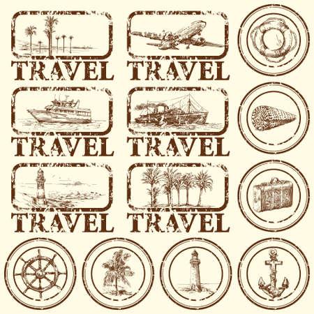 여행: 여행 스탬프, 마크 - 손으로 그린 컬렉션 일러스트
