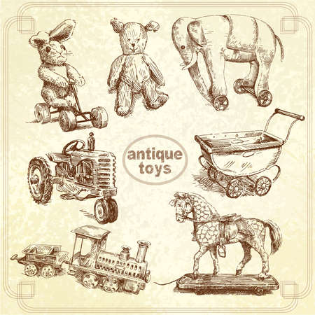 antique toys - hand drawn collection Vector