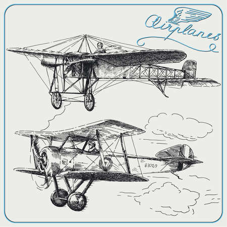 military aircraft: hand drawn airplanes