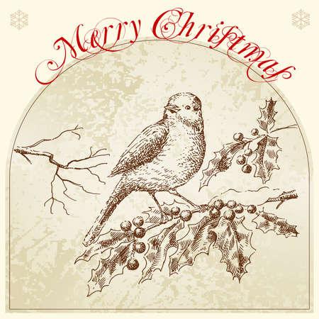 手描きレトロなクリスマス カード  イラスト・ベクター素材