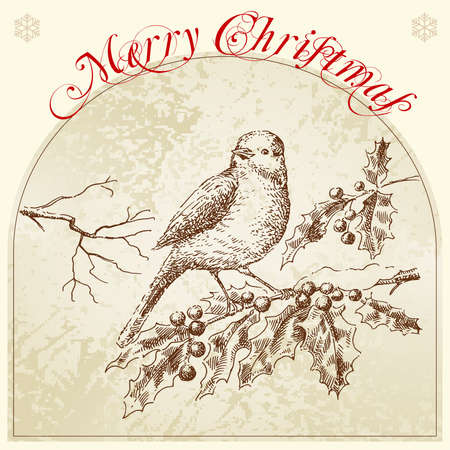christmas bird: hand drawn retro christmas card