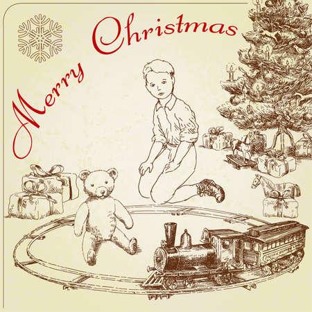 手描きビンテージのクリスマスのご挨拶