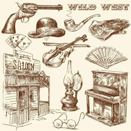 wild wild west: disegnata a mano selvaggia raccolta ovest Vettoriali