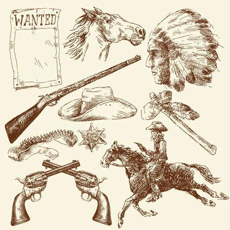 country western: dessin�s � la main sauvage de collecte � l'ouest