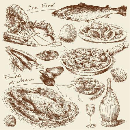 pescados y mariscos: dibujado a mano los productos del mar Vectores