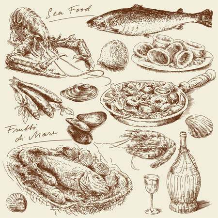 hand drawn sea food  Ilustrace