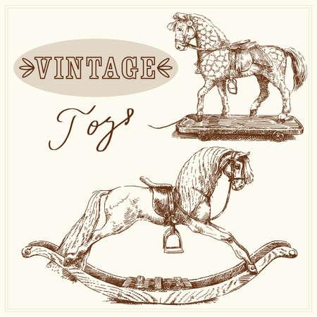 rocking horse-hand drawn vintage toys